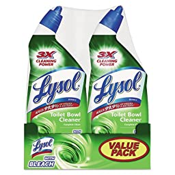 LYSOL Brand Disinfectant Bathroom Cleaner with Bleach, Liquid, 24 oz Bottle - Includes six bottles.