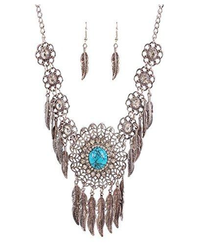 [Luck Wang Woman's Unique Fashion European And American Fashion Exaggerated Metal Retro Luxury Gem Diamond Tassel Necklace] (Gumdrop Fairy Costume)