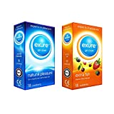 Exure Fruity Flavoured and Natural condoms, 18 of each (36) - 100% electronically tested, CE0123 certified