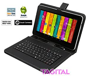 "Tagital® 9"" Android 4.2 Tablet PC Capacitive Touch Screen A13 1.5GHz Dual Camera Bundle Keyboard"