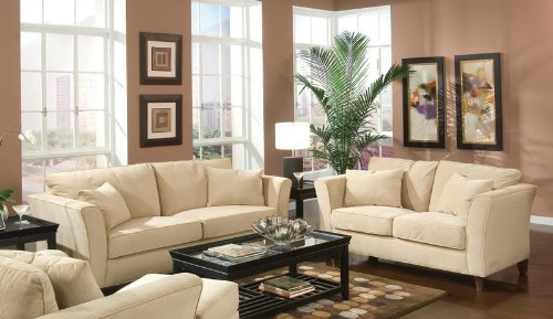 Buy Low Price Coaster 2pc Sofa & Loveseat Set Cream Velvet Fabric (VF_Livset-500231-500232)