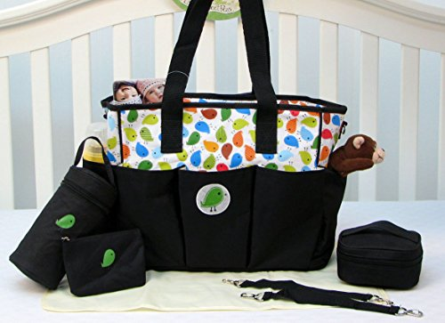 SOHO Buddy Birds 6 in 1 Diaper Tote Bag Set - Classic Black