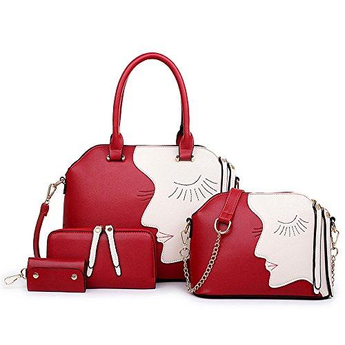1-Satz-von-Frauen-Taschen-Leder-Tote-Schulranzen-Geldbrse-Schlsselpaket-Handtasche-Umhngetasche-Set-Rot