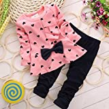 XILALU New Baby Sets Heart-shaped Print Bow Cute 2PCS Kids Set T shirt + Pants (0-6M, Pink )