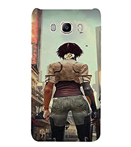 PrintVisa Fighter Girl Art 3D Hard Polycarbonate Designer Back Case Cover for Samsung Galaxy J5