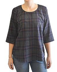 Onemm Women's Regular Fit Top (Onemm Style 7M, Blue-Green, Medium)