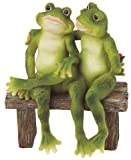 2 Frogs on Bench Garden Decoration Collectible Figurine Statue Model