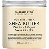 Majestic Pure Shea Butter, Organic Virgin Cold-Pressed Raw Unrefined Premium Grade from Ghana, 8 oz