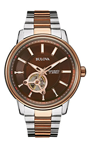 Bulova Automatic Men's Watch with Brown Dial Analogue Display and Rose Gold/Silver Stainless Steel Bracelet 98A140