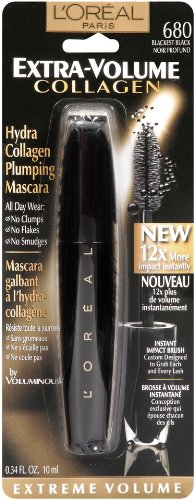 L'Oreal Paris Extra-Volume Collagen Mascara, Blackest ...