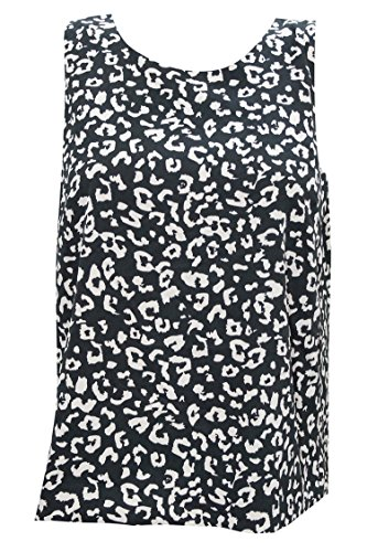Indiatrendzs Women's Rayon Tops Black/White Tunic sleeveless Top L