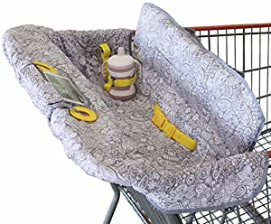 Shopping Cart Cover for Baby or Toddler | 2-in-1 High Chair Cover | Compact Universal Fit | Modern Unisex Design for Boy or Girl | Includes Carry Bag | Machine Washable | Fits Restaurant Highchair