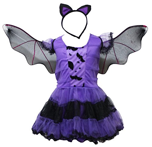 Halloween Purple Bat Princess Dress Wing Headband Costume 3pc Set for Girl 4-14y