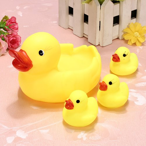 sealive a set of 4 Pcs new arrival child Baby Bath Toys ,Water Floating Squeaky Yellow Rubber Ducks,speical gifts for child&baby.