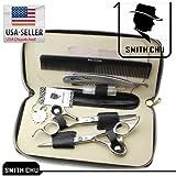 1set Professional Barber Hair Scissors Smith Chu (Hm100) Cutting & Thinning Scissors Kit 6.0inch, Japanese Steel Shear Blue Crystal