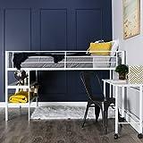 WE Furniture Twin Low Loft Metal Bed, White