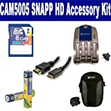 Coby CAM5005 SNAPP HD Camcorder Accessory Kit includes: SB202 Battery, SB257N Charger, SDC-22 Case, HDMI3FM AV & HDMI Cable, KSD48GB Memory Card