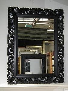 Large black mirror carved solid wood frame beautiful for Large black framed mirror