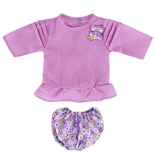 You & Me 16-18 Inch Doll Playtime Outfit - Purple Top With Purple Floral Shorts front-885134