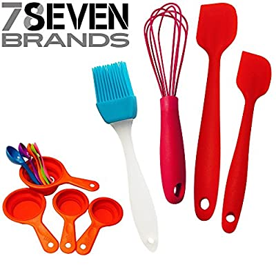78Seven Bakeware SILICONE BAKING SET BUNDLE. 9 Piece Measuring Cup Set With Measuring Spoons, 10 Inch Whisk, 2 Spatulas And FREE Basting Brush!