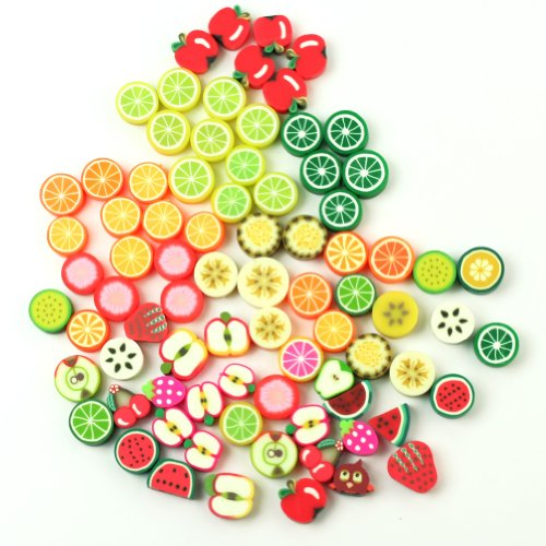AllCraft 100 x Wholesale Mixed Color FIMO Polymer Clay Fruits Charm Spacer Beads