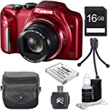 Canon PowerShot SX170 IS 16.0 MP Digital Camera with 16x Optical Zoom and 720p HD Video (Black) Premiere Bundle With DigPro 16GB High Speed Card , Digpro Deluxe Case, Deluxe Cleaning Kit ,Spare Battery