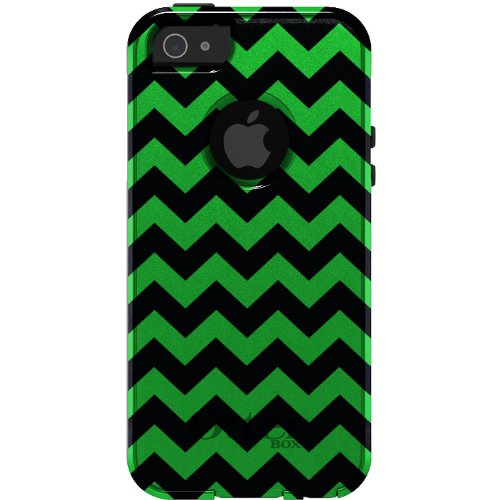 Great Price CUSTOM OtterBox Commuter Series Case for iPhone 5 5S - Chevron Stripes Zig Zag (Black & Green)