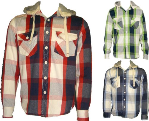 [Red, Large] MENS BRAVE SOUL LUMBER JACKET HOODIE CHECK SHIRTS