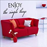 ABK Wall Art Enjoy The Simple Things Quote Wall Art Sticker Mural - Medium - Brick Red - Matt