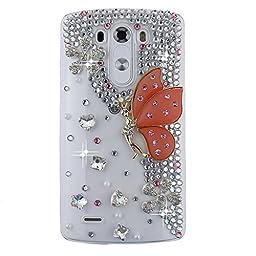 LG Optimus Zone 3 Case, Sense-TE Luxurious Crystal 3D Handmade Sparkle Diamond Rhinestone Clear Cover with Retro Bowknot Anti Dust Plug - Butterfly Flowers / Orange