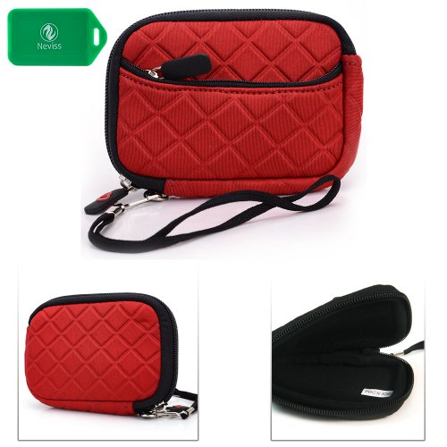 Protective Pouch With Small Accesory Pocket- Red - Universal Fit For Ipush Hi763 Wifi Adapter Miracast Dlna
