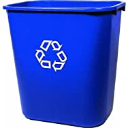 Medium Deskside Recycling Container, Rectangular, Plastic, 28 1/8 qt, Blue