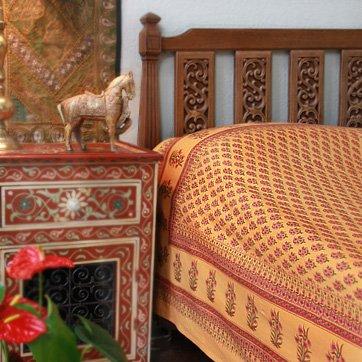 Indian Summer ~ Orange Paisley India Sari Print Queen Duvet Cover 90X90 front-998562