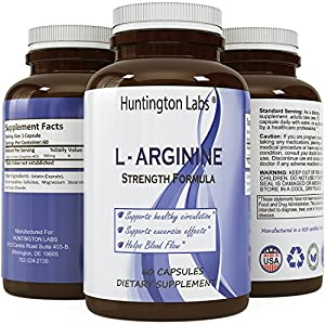 Best L-Arginine Supplement HCL Essential Amino Acid Infusion Vitamin Antioxidant and Immune System Support Increase Energy Burn Body Fat Boost Metabolism for Men Women Teens by Huntington Labs