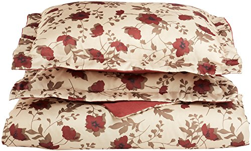 Impressions Microfiber Elm Leaves Duvet Cover Set, King/California King, Burgundy