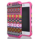 Iphone 6 Case, Meaci® Cell Phone Case for Iphone 6 (4.7 Inch) Case 2 in 1 Combo Hybrid Hard Pc & Rubber Case Dual Layer Bumper with Smooth Exquisite Aztec Tribe Pattern Protective Case - Pink Rubber