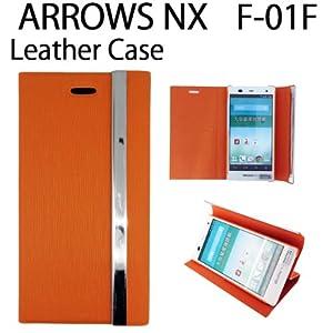 ARROWS NX F-01F 三つ折り手帳型レザーケース   [ arrows nx f-01f アローズ ケース カバー ] (オレンジ)