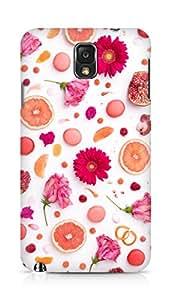 Amez designer printed 3d premium high quality back case cover for Samsung Galaxy Note 3 (orange flower pattern )