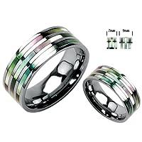 Titanium Unisex Wedding Band withTriple Abalone Inlay in Sizes 5 to 14
