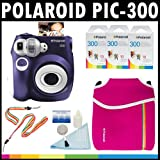 Polaroid PIC-300 Instant Film Analog Camera (Purple) with (3) Polaroid 300 Instant Film Packs of 10 + Polaroid Neoprene Pouch + Polaroid Cleaning Kit + Polaroid Neck & Wrist Strap