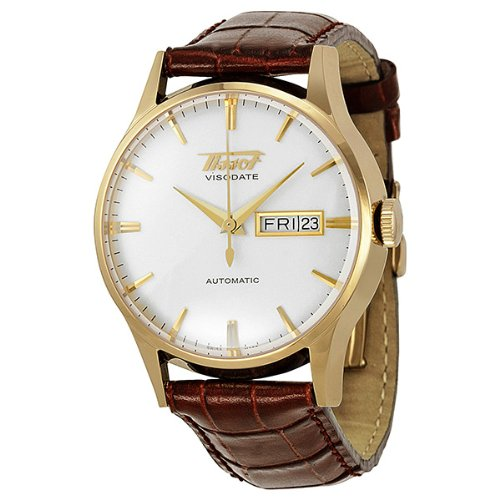 Tissot Visodate Automatic White Dial Brown Leather Mens Watch T0194303603101