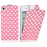 Pink Polka Dot Stylish Flip Case Cover Fits iPhone 4 & 4s + Includes Screen Protectorby JAMMYLIZARD