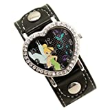 Black Disney Princess Fairy Tinkerbell Heart Shaped Watch Wristwatch
