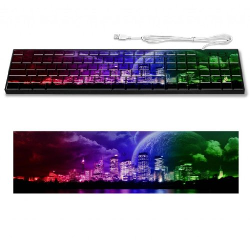 Color Processing Reflection Neon Lights Keyboard Customized Made To Order Support Ready 16 7/8 Inch (430Mm) X 4 7/8 Inch (125Mm) X 15/16 Inch (25Mm) High Quality Liil Key Board Boards Desktop Laptop Key_Board Comfortable Computer Accessories Cute Gaming G