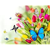 Tallenge Art For Kids Room Décor - Beautiful Butterflies On Flowers - A3 Size Rolled Poster