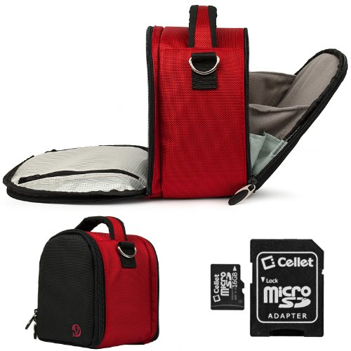 Red Laurel Lightweight Camera Bag Case For Pentax Optio I-10 NB1000 RS1000 RS1500 RZ10 S1 Point and Shoot Digital Camera + 16GB Micro SD Card (Blue Light Reducer compare prices)