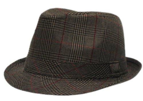 Mens Prince Of Wales Tweed Trilby Fedora Hat in Dark Brown images