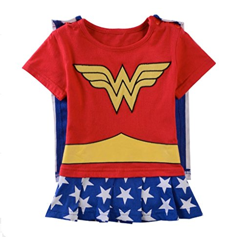 Rush Dance One Piece Super Hero Baby Wonder Baby Woman Romper Onesie Suit Cape (70 (6-9M), Wonder Woman (Red & Blue & White))