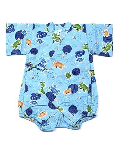 甚平 カニ柄 ブルー [80サイズ] ロンパース グレコ じんべい ベビー 日本製 肌着 パジャマ 寝巻き
