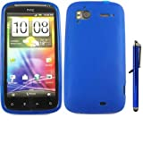 Gel Case Cover Skin And Large Capacitive Stylus Pen For HTC Sensation / Blue
